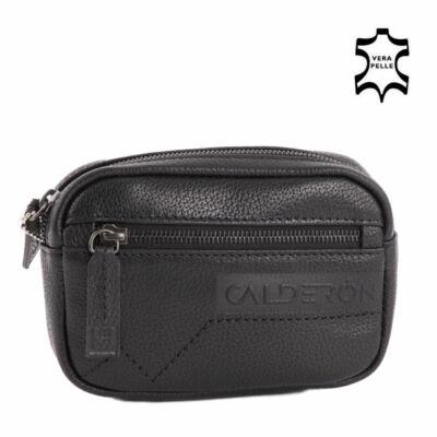 Calderón valódi bőr fekete övre fűzhető övtáska autós táska