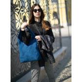 Valódi velúbőr női táska farmerkék színben