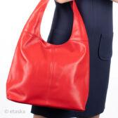 Valódi bőr női táska piros színben