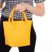 Valódi bőr női táska sárga színben