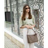 Valódi bőr női táska taupe barna színben