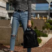Euroline  nagyméretű fekete női hátizsák MF1763 Black