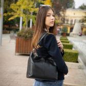 Valódi bőr női táska sötétbarna színben