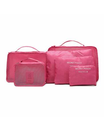 Bőröndrendező táskák utazáshoz 6 db-os szett pink színben