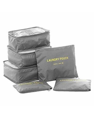 Bőröndrendező táskák utazáshoz 6 db-os szett szürke színben