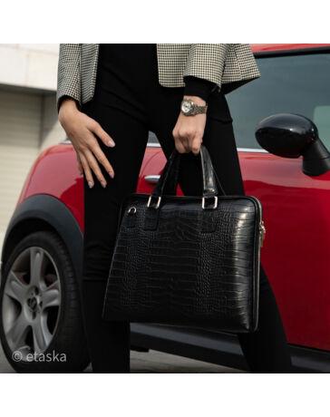 Laptoptartós Valódi bőr üzleti táska fekete színben*