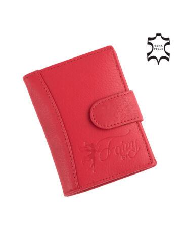 Fairy valódi bőr piros női kártyatartó RFID rendszerrel