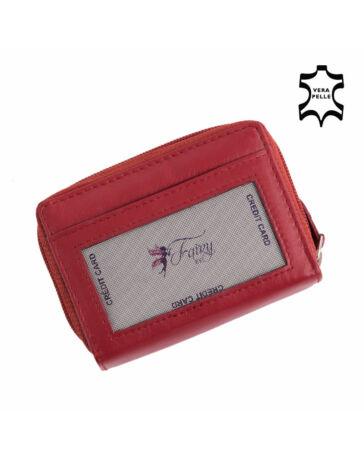FAIRY valódi bőr cipzáras kártyatartó piros színben*