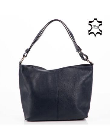 Valódi bőr női táska sötétkék színben