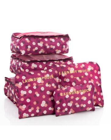Bőröndrendező táskák utazáshoz 6 db-os szett bordó virágos