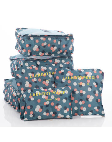 Bőröndrendező táskák utazáshoz 6 db-os szet kék virágos