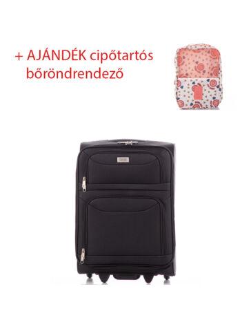 Ormi Bőrönd kabin méret 6802 Fekete színben RYANAIR ÚJ WIZZAIR méret + ajándék cipőtartós bőröndrendező