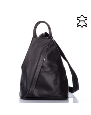 """Valódi bőr női hátizsák fekete színben S6925 """"*"""