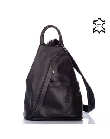 Valódi bőr női hátizsák fekete színben S6925