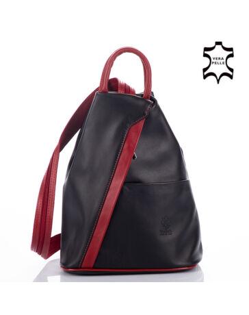 Valódi bőr női hátizsák Fekete-Piros színben S6925