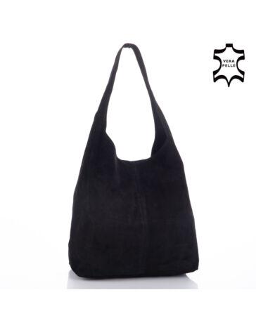 Valódi velúrbőr fekete női táska