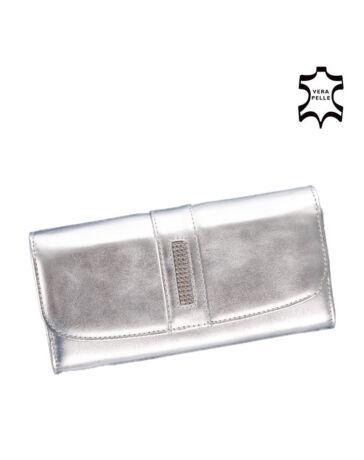 Lewitzky Swarovski köves valódi bőr női pénztárca ezüst színben