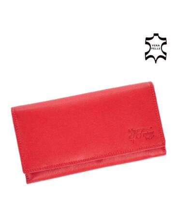 Fairy valódi bőr pénztárca piros színben RFID rendszerrel díszdobozban