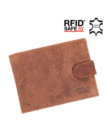 GIULIO valódi koptatott bőr férfi pénztárca díszdobozban RFID rendszerrel ( 8 kártyatartó )
