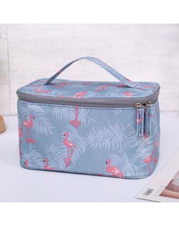Kozmetikai táska M13 LightBlue Flamingó mintával