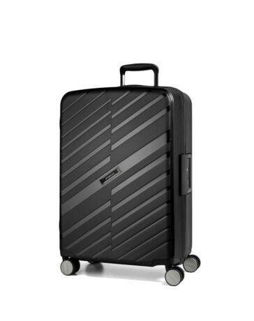Bon Voyage Törhetelen Cipzár nélküli Spinner bőrönd M Fekete