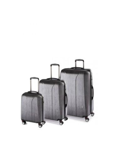 Yearz New Carat Spinner Bőrönd szett Vízhatlan Cipzárral BlackBrushed + ajándék 3 db-os bőröndhuzat szett
