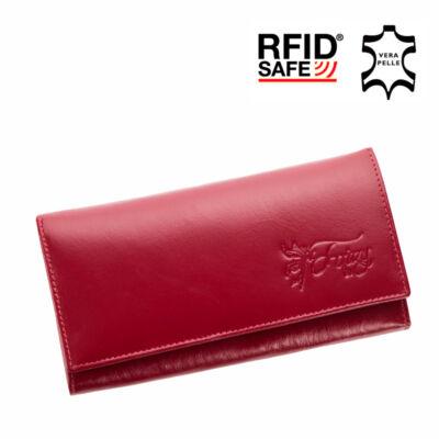 Fairy valódi bőr bordó női pénztárca RFID védelemmel