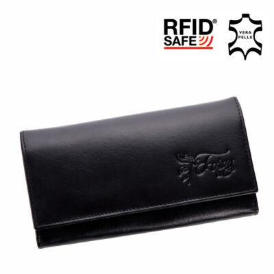 Fairy valódi bőr fekete női pénztárca RFID védelemmel