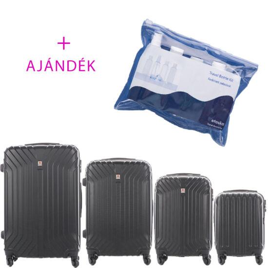 LEONARDO DA VINCI 507 4 db-os bőrönd szett bogár fekete színben + ajándék Fedélzeti Flakon csomag