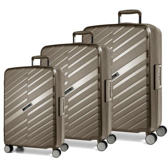 Bon Voyage Törhetelen Cipzár nélküli Spinner 3 db-os bőrönd szett Bronz