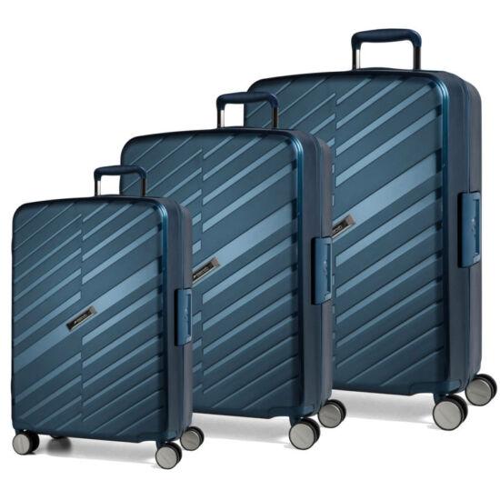Bon Voyage Törhetelen Cipzár nélküli Spinner 3 db-os bőrönd szett Kék
