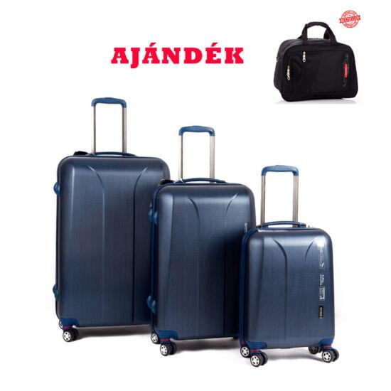 Yearz New Carat navy brushed bőrönd szett + AJÁNDÉK UTAZÓTÁSKA