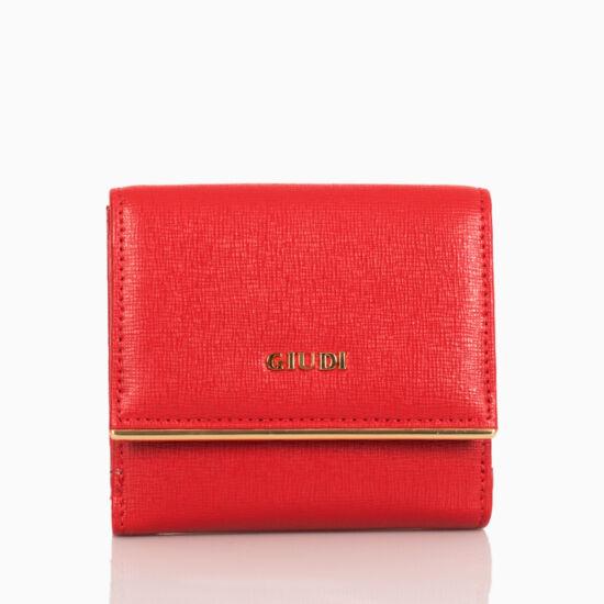 Giudi valódi bőr női pénztárca díszdobozban piros színben