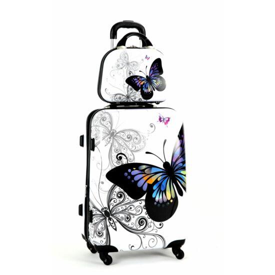 65633ccd215e Pillangós ABS bőrönd szett 2 részes bővíthető - Kemény bőrönd ...