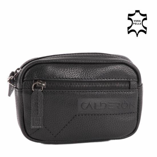 8d3248638ba7 Calderón valódi bőr fekete övre fűzhető övtáska autós táska ...