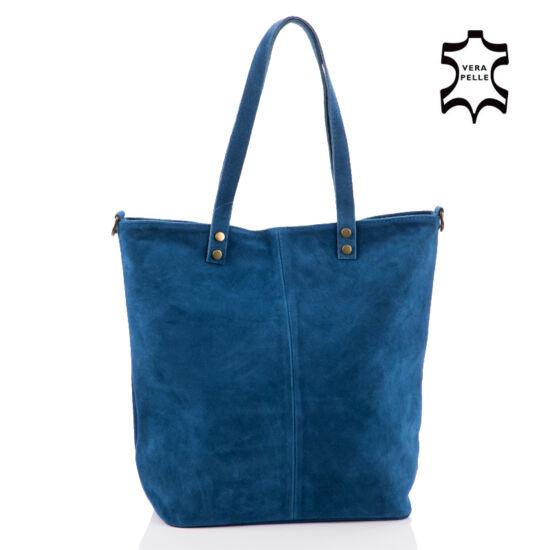 Valódi velúrbőr női táska farmerkék színben