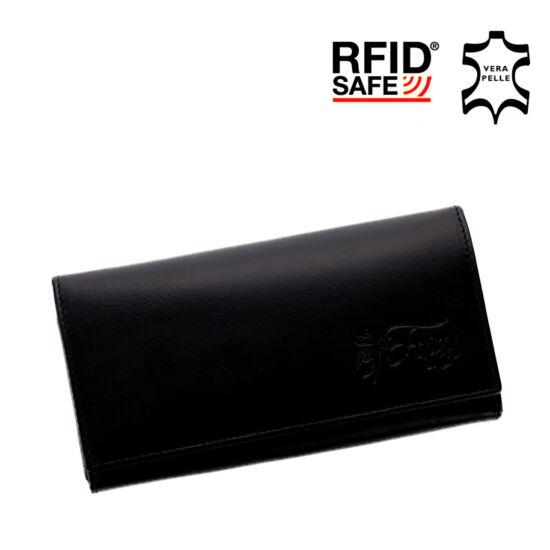 Fairy valódi bőr fekete női pénztárca RFID védelemmel+