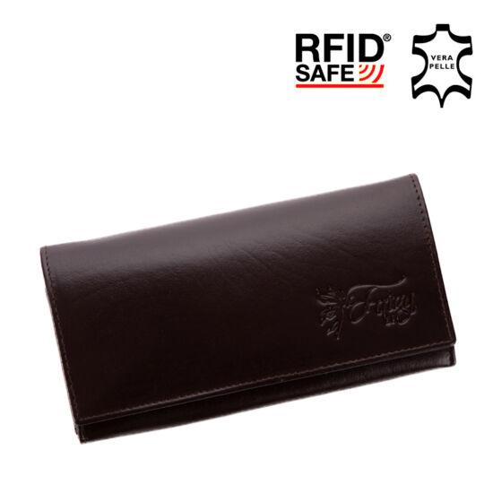 Fairy valódi bőr sötétbarna női pénztárca RFID védelemmel+