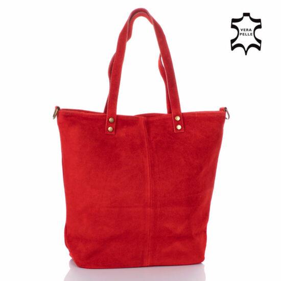 Valódi velúrbőr női táska piros színben