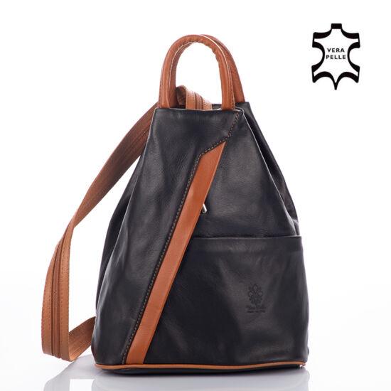 Valódi bőr női hátizsák fekete-konyak színben