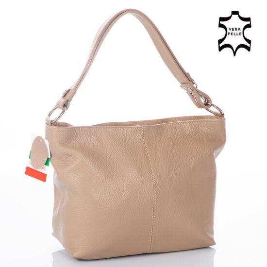 Valódi bőr női táska taupe színben