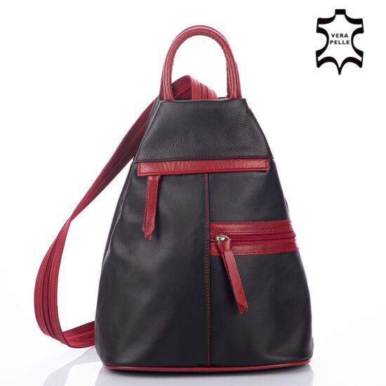 Valódi bőr női hátizsák fekete-piros színben
