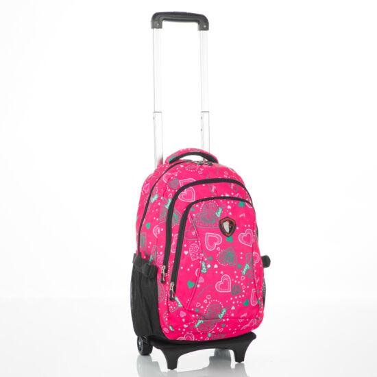 Gurulós rózsaszín iskolatáska szívecske mintával