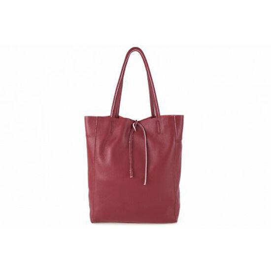 Valódi bőr női táska sötétpiros színben