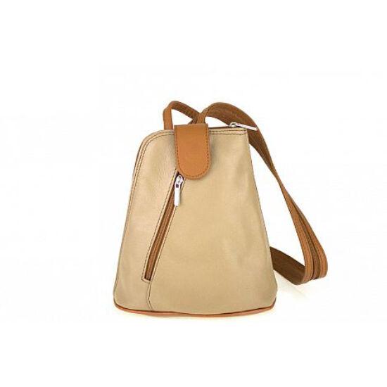 Valódi bőr női hátizsák taupe-konyak színben