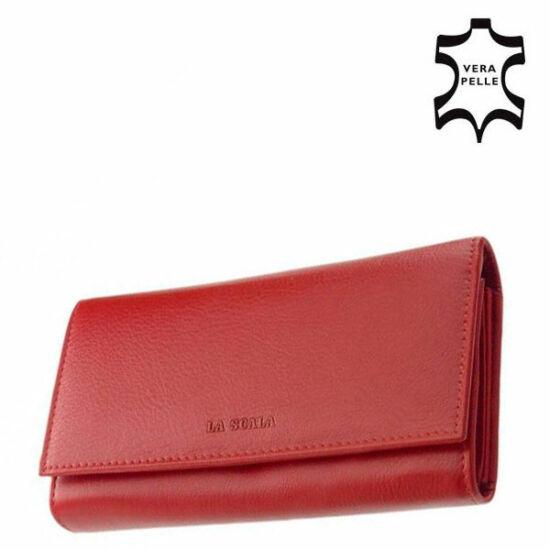 LA SCALA valódi bőr női pénztárca piros DCO064 Red