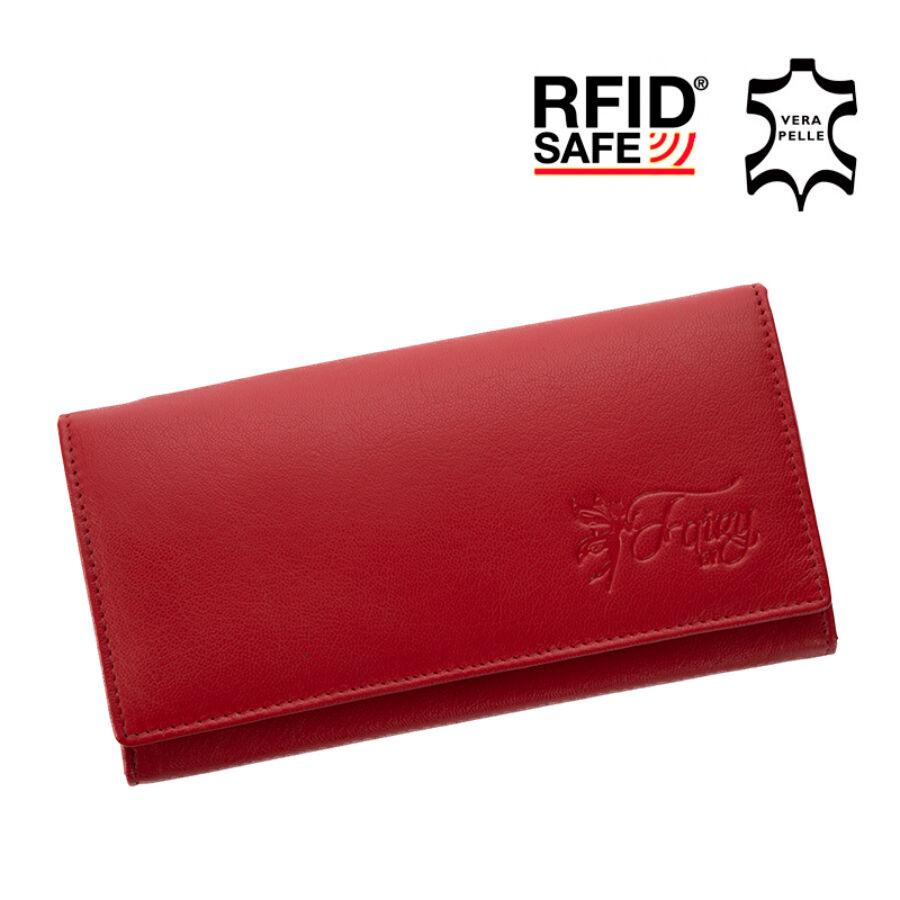 65f0e2272a24 Fairy valódi bőr piros női pénztárca RFID védelemmel díszdobozban - etaska