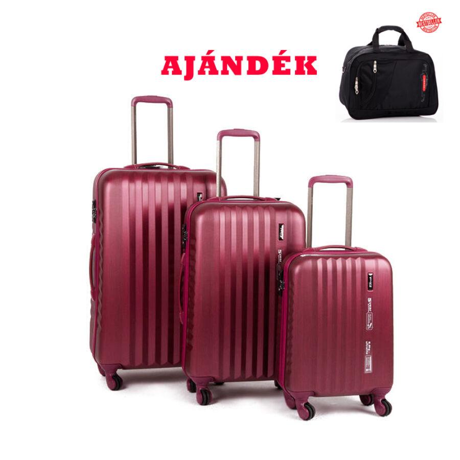 d7be01812681 Yearz Bőrönd szett Spinner 4 kerekű változat Ribbon 5 év Garanciával  Burgundy Brushed színben + AJÁNDÉK UTAZÓTÁSKA